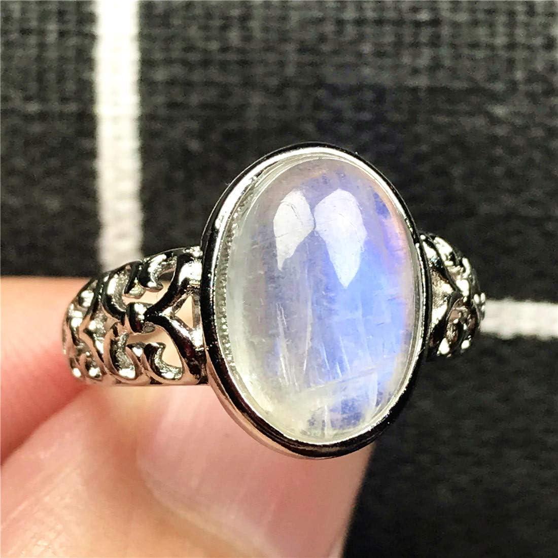 DUOVEKT Anillo de cristal de 13 x 10 mm para mujer, dama y hombre, piedra de luna natural arcoíris, joyería de piedra ovalada de plata azul claro, anillo ajustable AAAAA