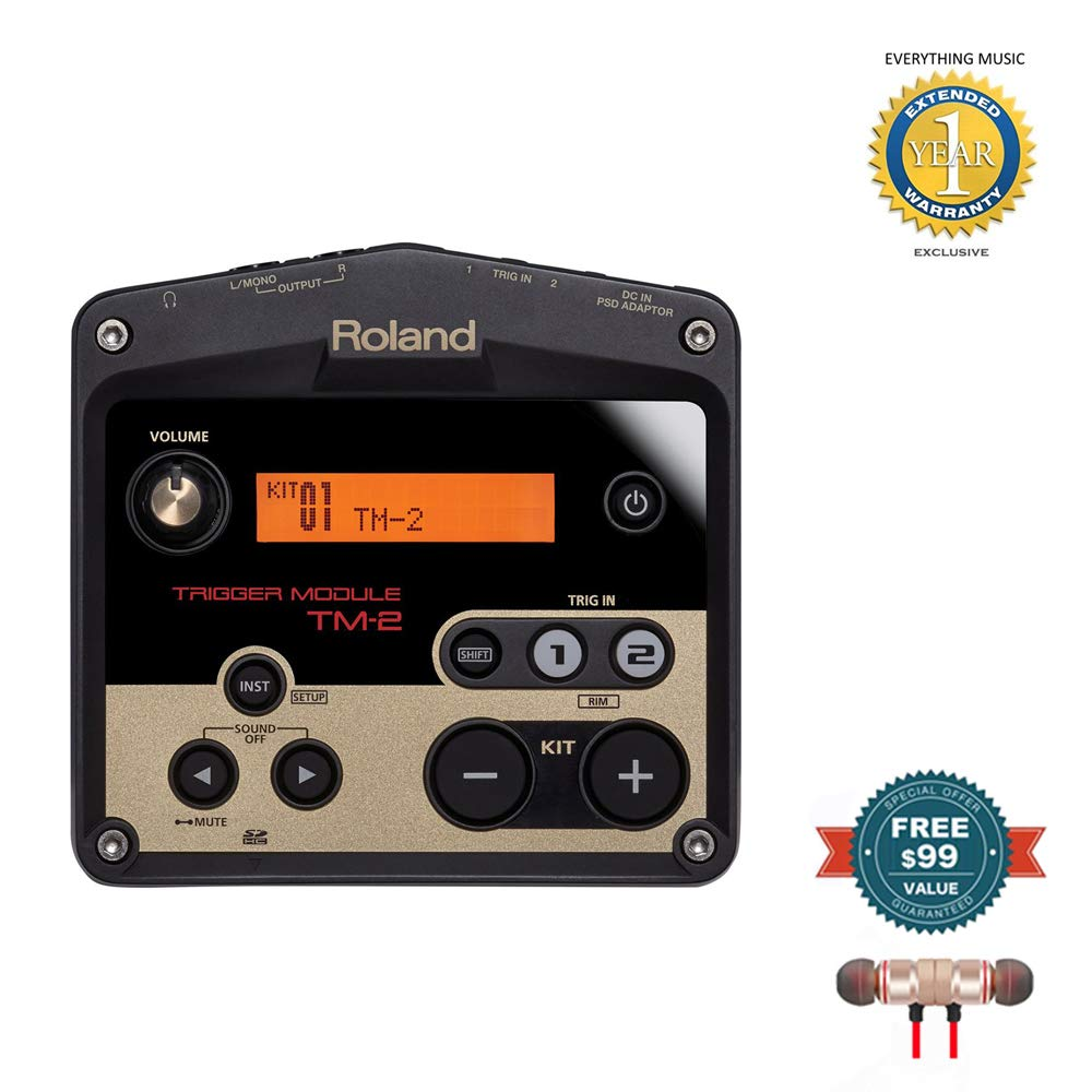 Roland TM-2 Electronic Percussion Trigger Module includes Free Wireless Earbuds - Stereo Bluetooth In-ear and 1 Year Everything Music Extended Warranty by Roland