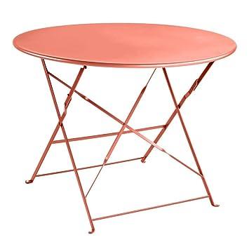 Truffaut : Table Ronde En Acier D.95cm : Brique: Amazon.fr: Jardin