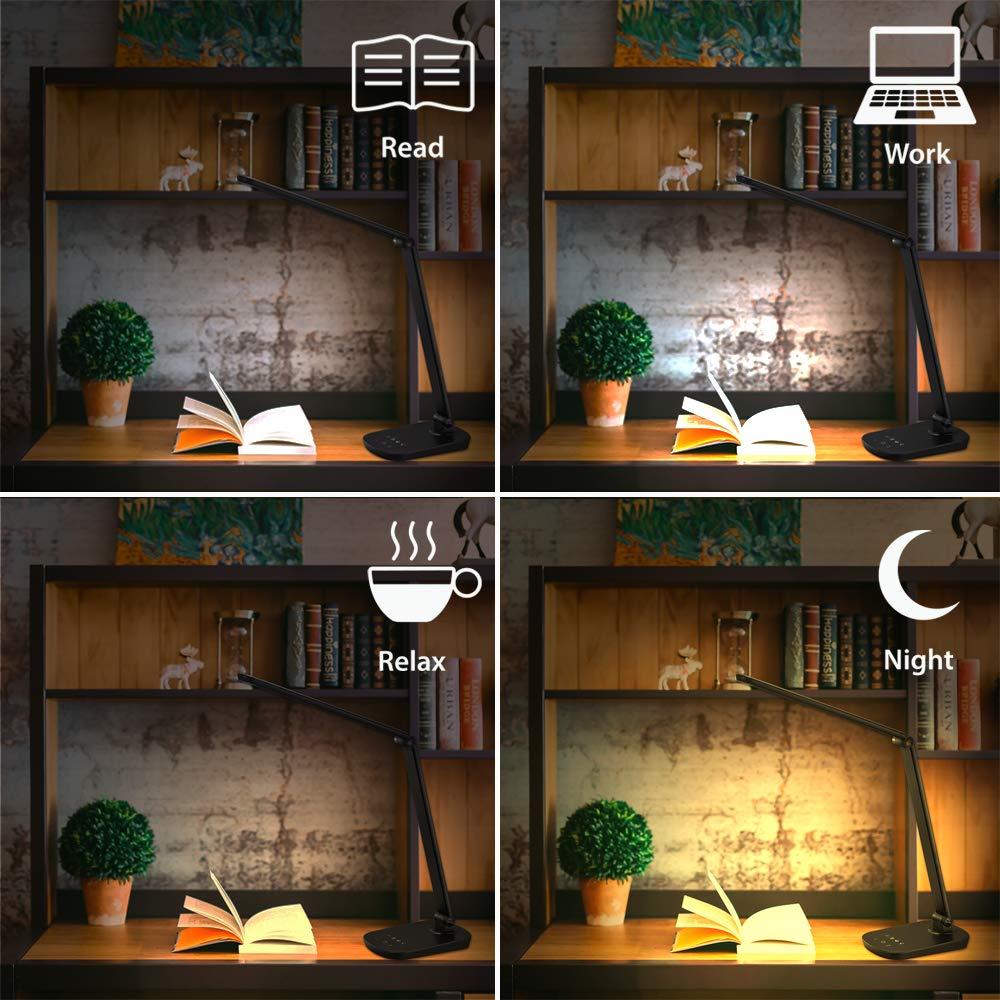 protezione degli occhi Classe energetica da A-A++ 4 colore livelli memoria set up Nero controllo tattile oscuramento continua porta USB Crypto DLB100 Lampada da tavolo a LED 8W 500 lumen