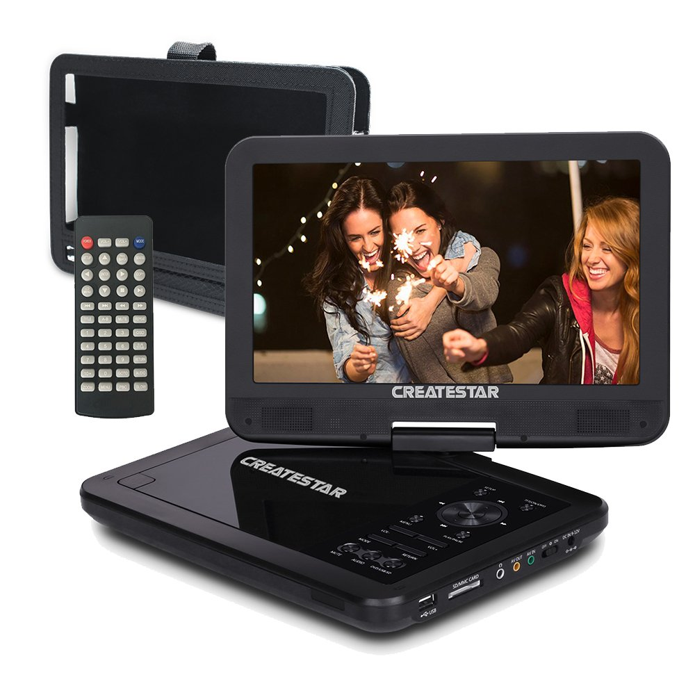 10.5'' Portable DVD Player for Car and Kids with 270°Large Swivel Screen | Headrest Mount,CREATESTAR 5 Hours Rechargeable Battery, USB/SD Card Reader Charger Mounting Kit - Black