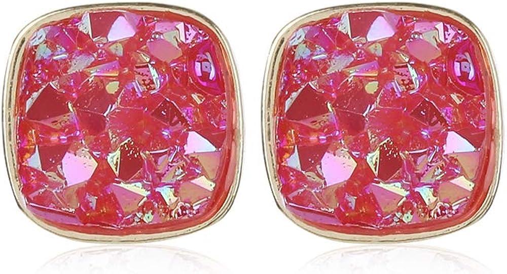 Dragonface Par 1 joyería de Cristal de Cuarzo Plaza Pendientes de la Roca de Piedra Natural Oro Pendientes de Piedra Natural joyería