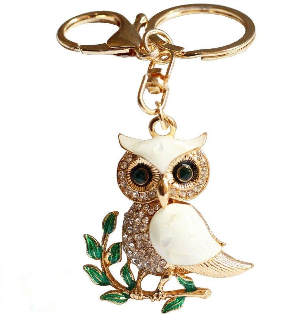 Metal Keychain key ring Cute Owl on Leaves Crystal Rhinestone Sparkling Charm Blingbling Pendant car Keychains key holder Women girls Handbag Decoration Gift Box Packed