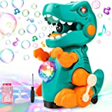 BananMelonBM Bubble Machine, Dinosaur Bubble Machine Maker with Self-Walking, Music and Lights Effects for Kids Outdoor or In