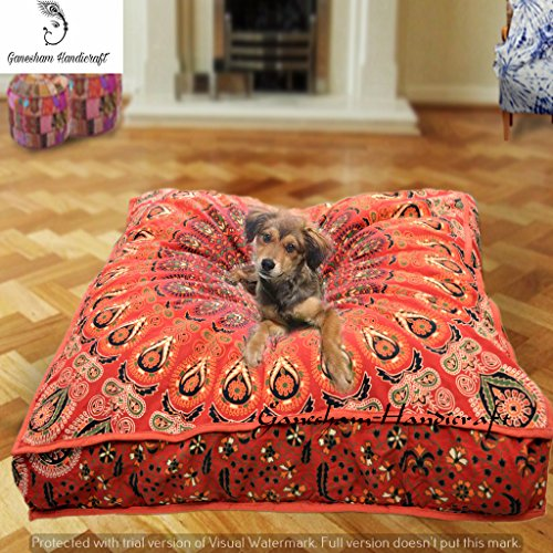 Indian tapestry boho home decor decorative pillow cover, bohemian dog bed, boho decor, handmade floor pillow, boho mandala cushion cover, indian pet beds made by mandala tapestry (Cover Only) by GANESHAM