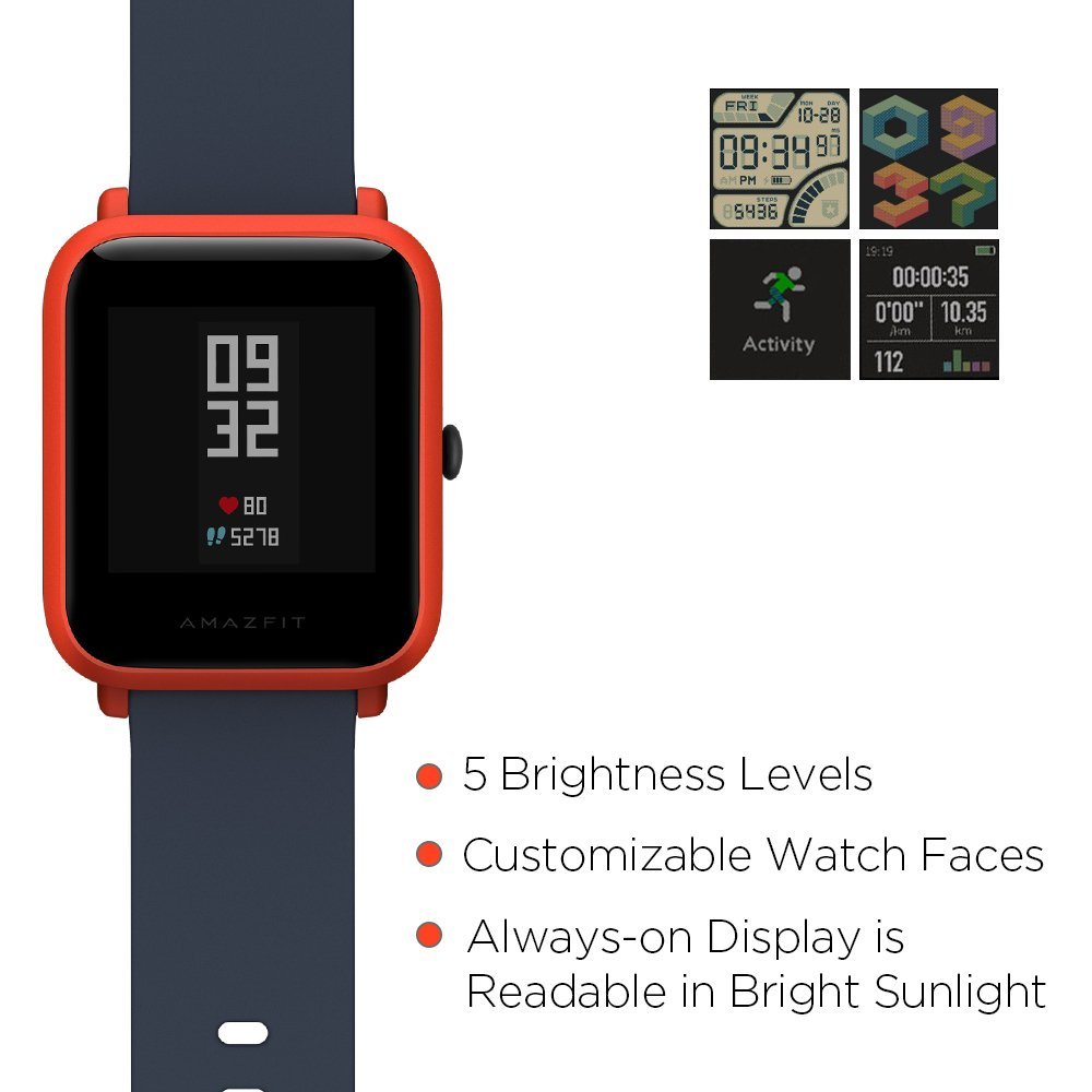 8094b8d7e Amazfit Bip Smartwatch with All-Day Heart Rate and Activity Tracking ...