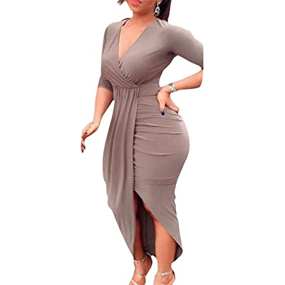 AM CLOTHES Club Dress for Women Sexy Ruched Bodycon Asymmetrical V Neck Midi Dresses: Clothing