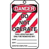 """Accuform Lockout Tags, Pack of 25, Do Not Operate, US Made OSHA Compliant Tags, Tear & Water Resistant PF-Cardstock, 5.75""""x 3"""