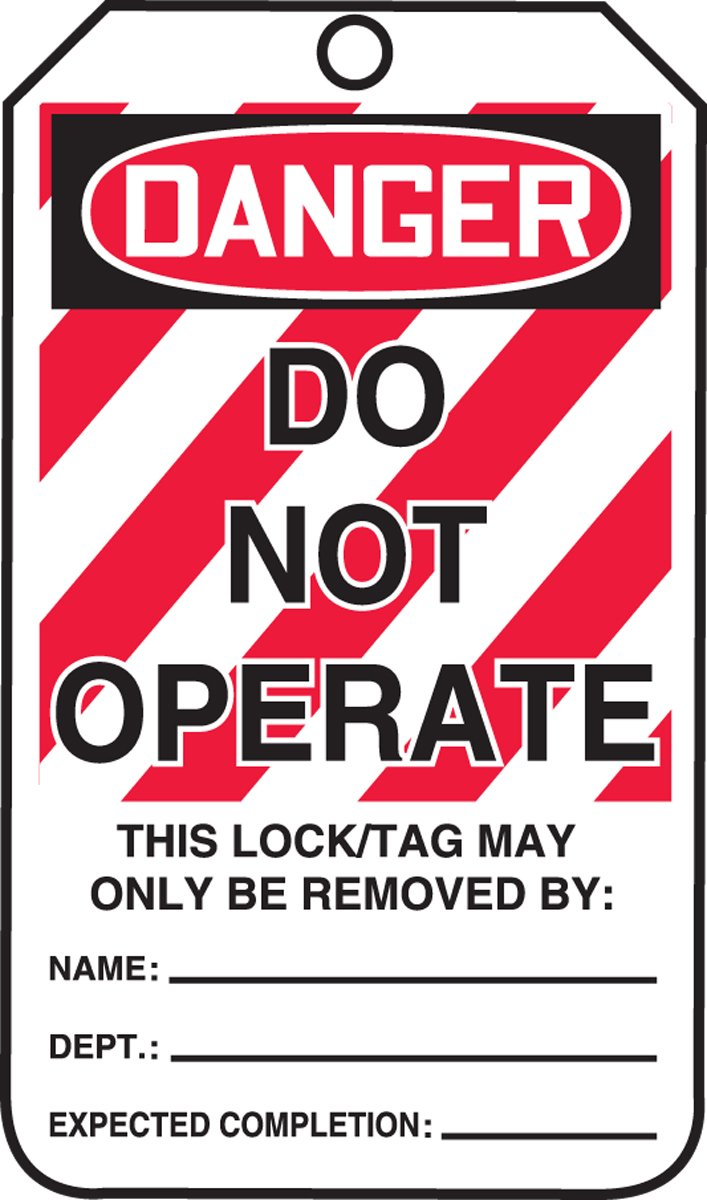 Accuform Signs MLT400CTP Lockout Tag, Legend DANGER DO NOT OPERATE, 5.75' Length x 3.25' Width x 0.010' Thickness, PF-Cardstock, Red/Black on White (Pack of 25) 5.75 Length x 3.25 Width x 0.010 Thickness