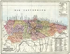 España. Mapa de la Provincia de Oviedo – 1913 – Old Antiguo Mapa Vintage – Mapas de Impreso de España: Amazon.es: Hogar