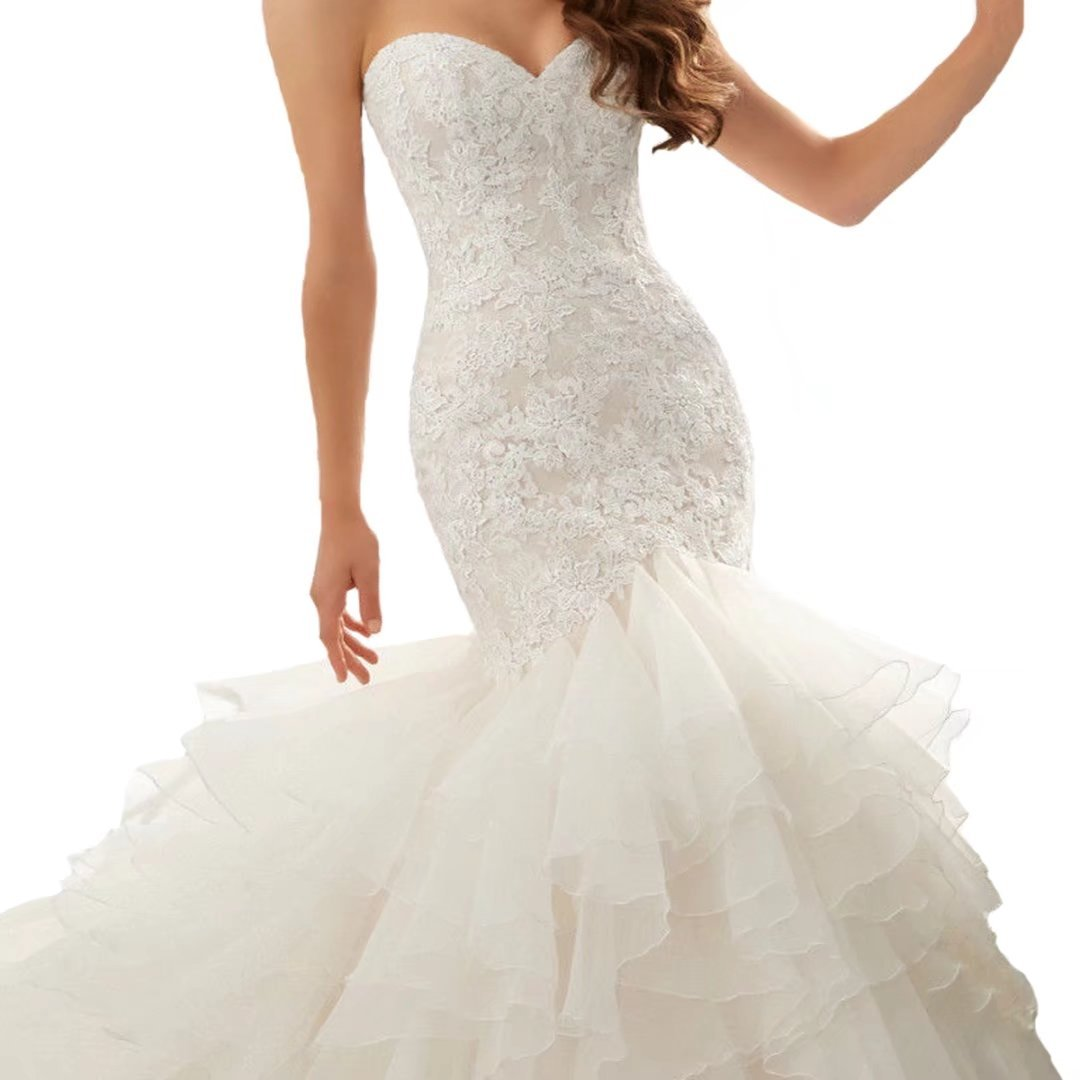 Fair Lady Sweetheart Organza Lace Mermaid Wedding Dresses For Bride Strapless Ruffles Train Bridal Gowns Plus Size At Amazon Women's Clothing Store: Strapless Ruffle Wedding Dress At Reisefeber.org