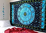 Bless International Indian Hippie Bohemian Horoscope Zodiac Mandala Wall Hanging Twin Size Meditation Psychedelic Tapestry (Blue)
