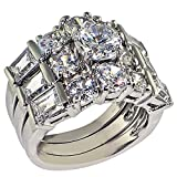 Ultra Luxurious 8 Ct. Round-shape and Emerald-shape Cubic Zirconia Cz Solitaire Bridal Engagement Wedding 3 Piece Ring Set (Center Stone Is 2 Cts)