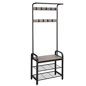 VASAGLE DAINTREE Coat Rack, Shoe Bench, Hall Tree, Entryway Storage Shelf, Industrial Accent Furniture with Metal Frame, 3-In-1 Design, Easy Assembly, Greige UHSR40MB