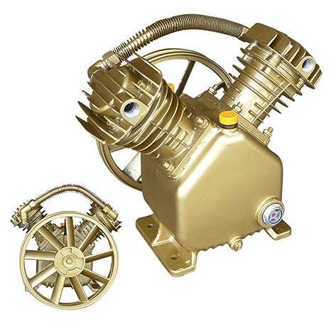 domeiki Bomba de doble cilindro compresor de aire 3HP 2 Pistón V estilo cabeza de motor