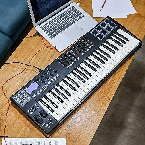 Muslady WORLDE PANDA49 Portátil 49 teclas Controlador de Teclado MIDI USB 8 RGB Almohadillas Retroiluminadas Coloridas con Cable USB