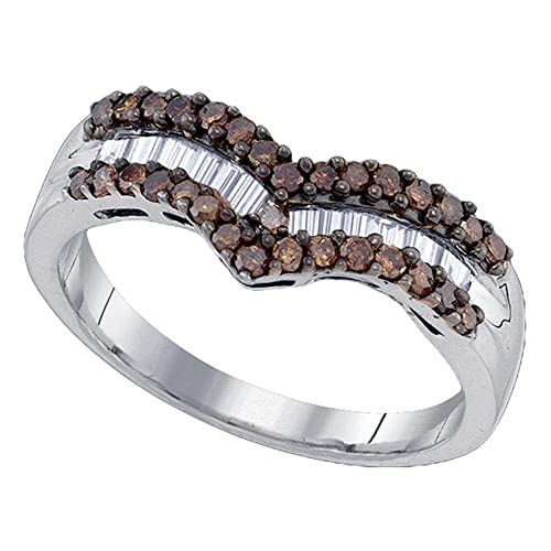 Sonia Jewels 925 Sterling Silver Chocolate Brown White Round Baguette Diamond Fashion Ring – Channel Setting 1 2 cttw.