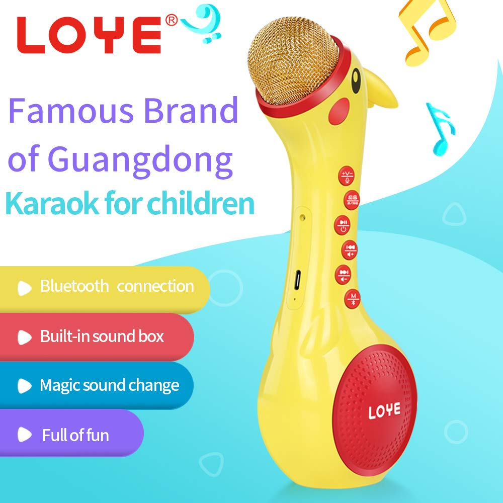 LOYE Wireless Bluetooth Karaoke Microphone Magic Sound for Kids Toddles Baby Child Children 2 in 1 Portable Handheld Home Party Speaker with TF Card Birthday New Year by LOYE (Image #5)