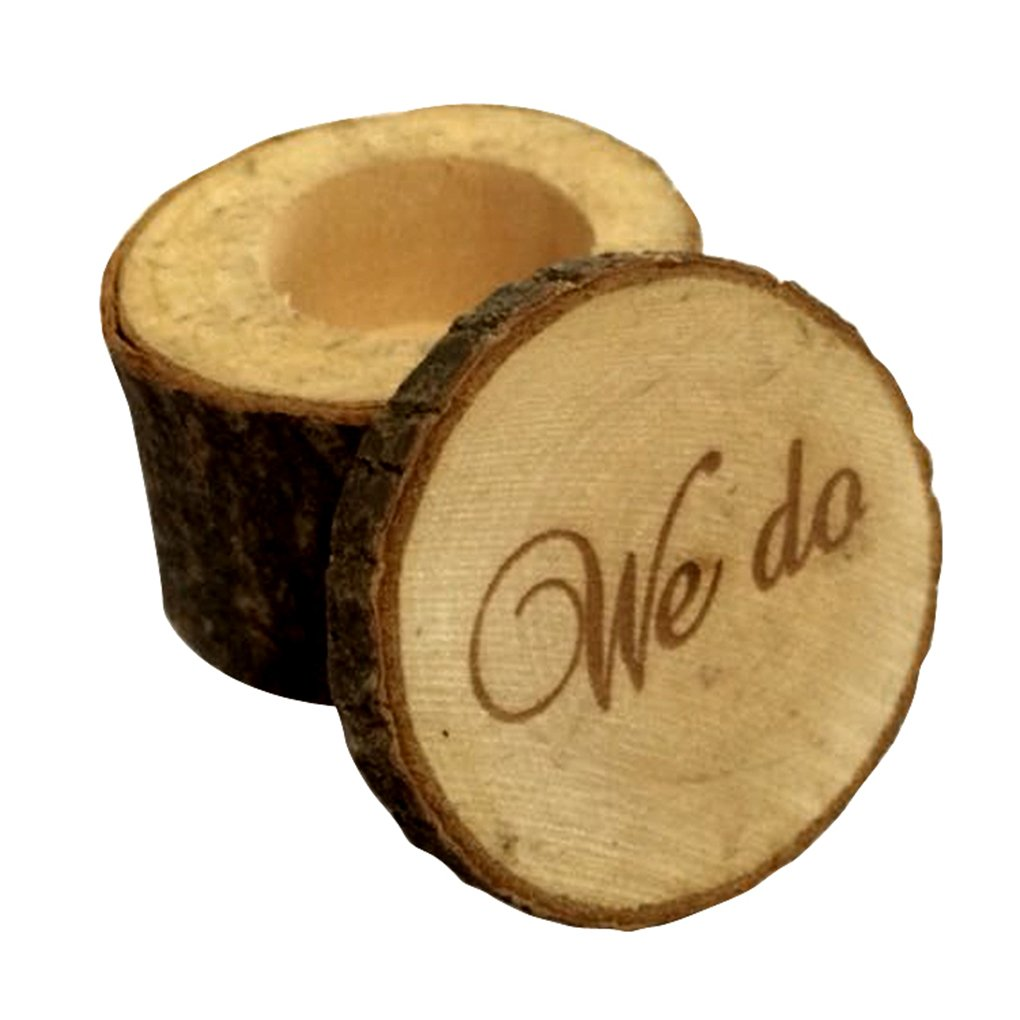 M-Egal Wedding Ring Box Wooden Printed WE DO Wedding Ring Bearer Rustic Ring Box Wood color 6cm*5.2cm