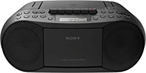 Sony CFDS70-BLK CD/MP3 Cassette Boombox Home Audio Radio Black With Aux Cable