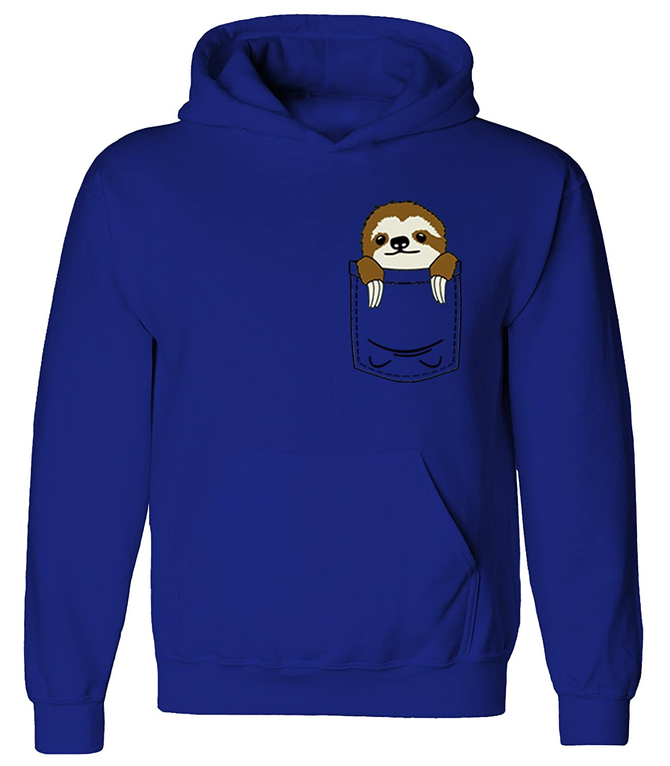 Youth Kids Childrens Pocket Sloth Mini Pet Cute Funny Pullover Hoodie