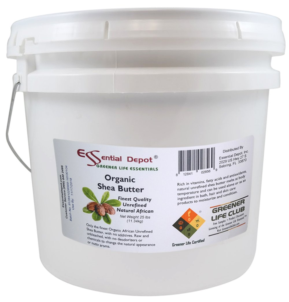 Organic Shea Butter Pail - Unrefined - 25 lbs by Essential Depot (Image #1)