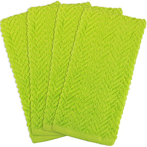 Green Color Bar - DII Cotton Zig Zag Weave Dish Towels, 16 x 28 Set of 4, Heavy Duty Kitchen Bar Mop for Drying & Cleaning-Neon Lime Green