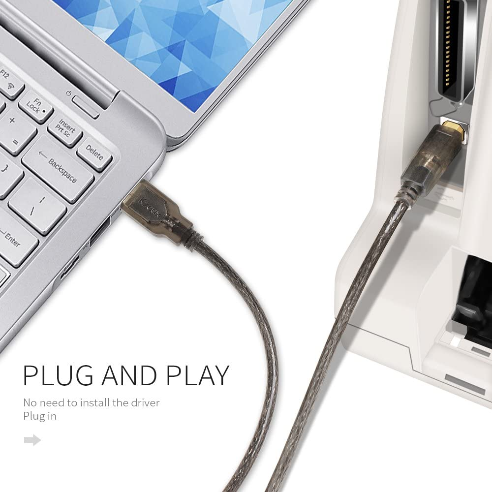 15FT USB 2.0 A to B Printer Scanner Cord Harper Grove Printer Cable for IBM Laser 5E 6 6I 6P 10 10A 10L 10P 4019 4028 4029 4035-10W Panasonic Panafax KX FL501 KX FL521 KX FLM551 25 Pack