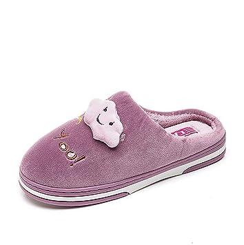 SHANGXIAN Invierno Cálido Pantuflas Zapatos Mujer Casa Pantuflas Comodidad Linda Parte Inferior De Espesor Zapatilla De Pareja,Purple,38/39: Amazon.es: ...