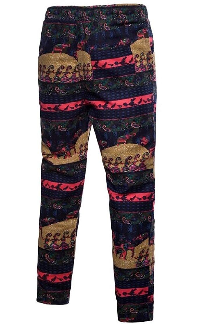 Frieed Mens Stylish Casual Slim Fit Ethnic Print Drawstring Floral Print Lounge Pants