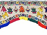 NovaHaat Ivory Hand Embroidered Valance Toran ~ Huge Vintage Kutch Prosperity Doorway Topper Gate with Ganesha, Lakshmi, Krishna and Peacocks ~ 81'' L x 60'' W