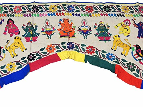 NovaHaat Ivory Hand Embroidered Valance Toran ~ Huge Vintage Kutch Prosperity Doorway Topper Gate with Ganesha, Lakshmi, Krishna and Peacocks ~ 81'' L x 60'' W by NovaHaat