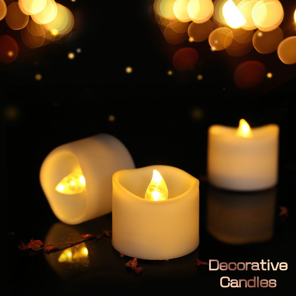 Youngerbaby 24pcs Warm White Flickering Tea Light Candles Free 100