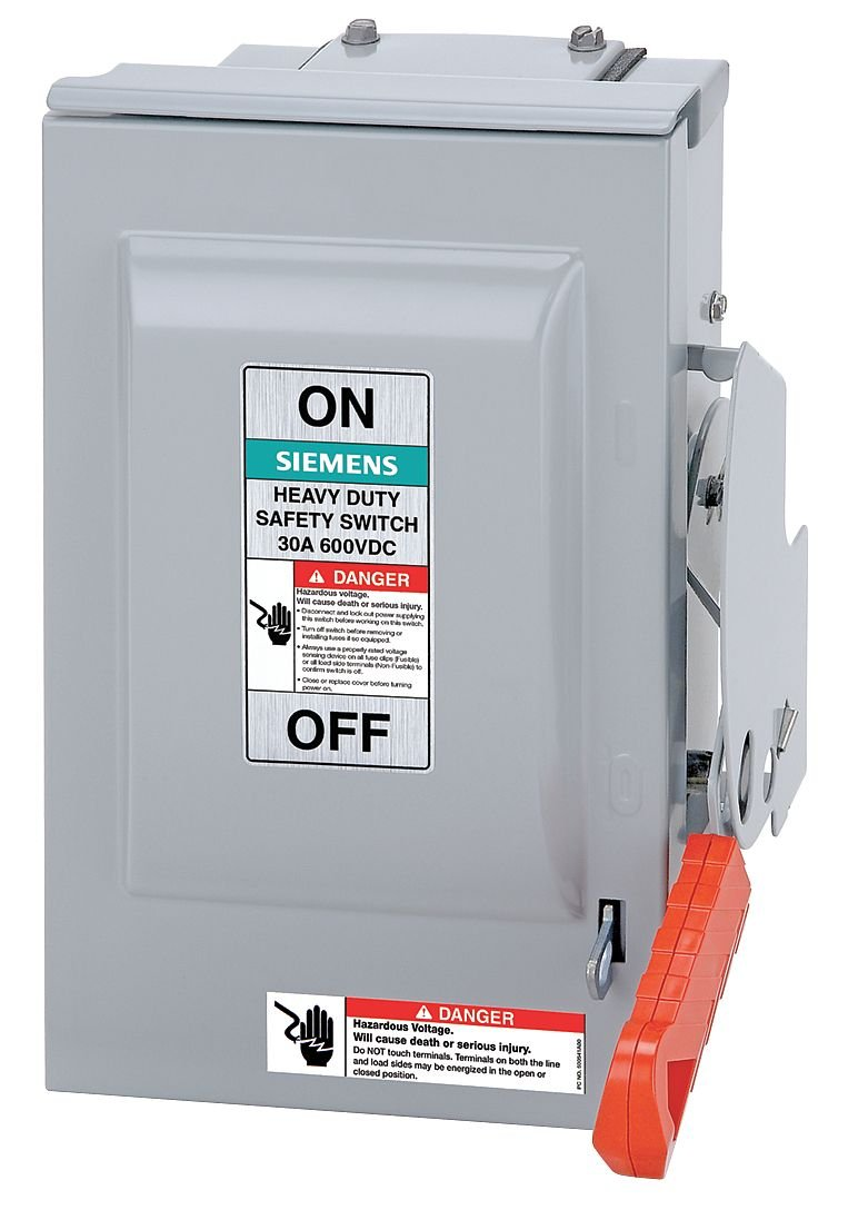 Siemens - HF363RPVPG - Fusible 600VAC/DC Solar Safety Disconnect Switch, Positive, Aluminum Alloy, 100 Amps by Siemens