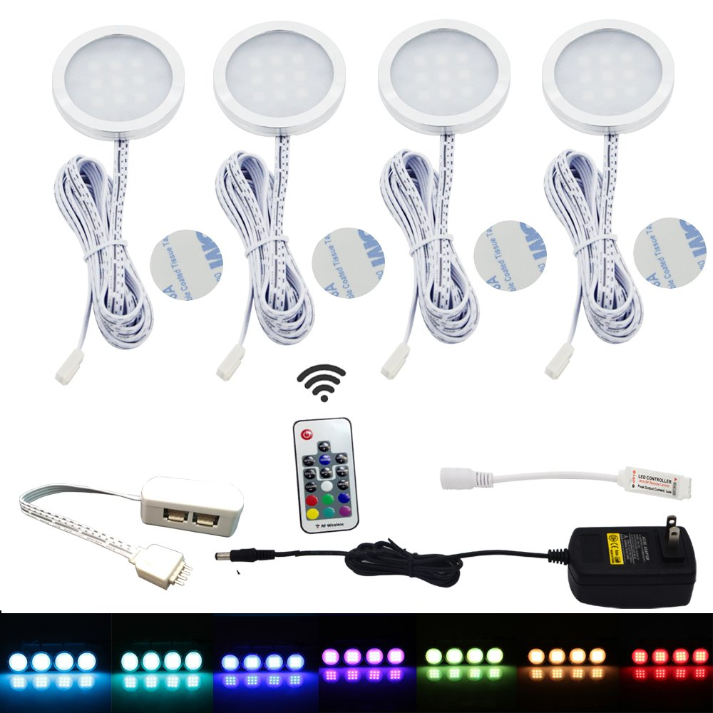 Aiboo RGB LED Under Cabinet Lighting Kit 4 Pack Color Changing Puck Lights  With Wireless RF Remote Control For Kitchen Furniture Christmas Xmas  Decoration ...
