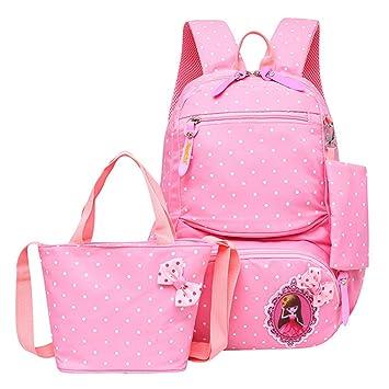 2277eb93cf6f JiaYou Girl Boy Cute Lunch Bag Purse/Pencil Bag School Backpack 3 Sets  (20L, StyleC Pink)