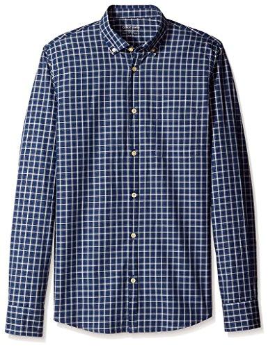 Color Siete Men's Long Sleeve Jones Twill Windowpane Shirt, Dress Blue, M ()