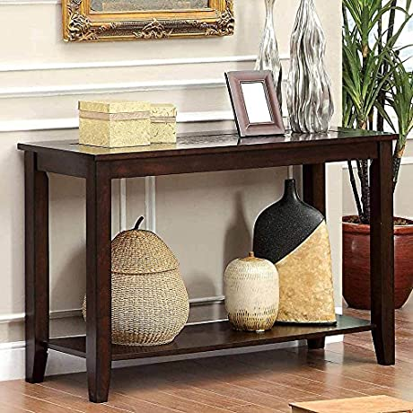 1PerfectChoice Twonsend Transitional Sofa Console Table Mosaic Top Open Shelf Dark Wood Cherry