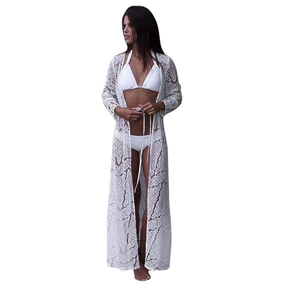 DEELIN Mujeres Bohemian Beach Bikini Maxi Cover Sexy Lace Kimono (S, Blanco)