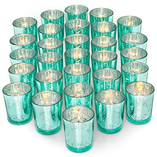 Aqua Sweet 16 Decorations (LETINE 36pcs Votive Candle Holders for Party Decorations - Mercury Glass Teal Tealight Candle Holder for Wedding/Birthday/Bridal/Baby Shower)