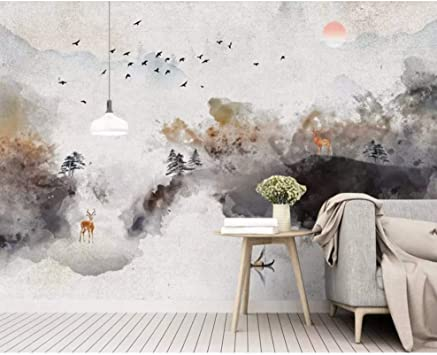 Amazon Com Dalxsh Modern Chinese Abstract Ink Landscape 3d Wallpaper Living Room Tv Sofa Wall Bedroom Restaurant Wall Papers Home Decor Mural 120x100cm Furniture Decor