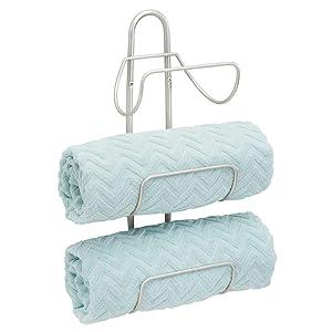 mDesign Modern Decorative Metal 3-Level Wall Mount Towel Rack Holder and Organizer for Storage of Bathroom Towels, Washcloths, Hand Towels - Satin