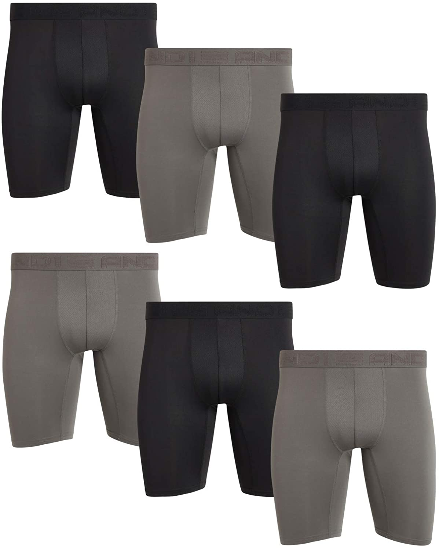 AND1 Men's Compression Long Leg Performance Boxer Briefs (6 Pack)