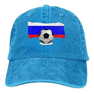 roylery Denim Baseball Cap Soccer Ball with Russia Flag Women Snapback Caps Adjustable Plain Cap