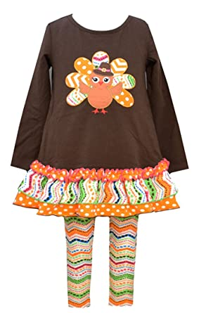 4cd7ba319195a Bonnie Jean Little Girls Thanksgiving Brown Ribbon Turkey Legging Set,  Multi, 12M