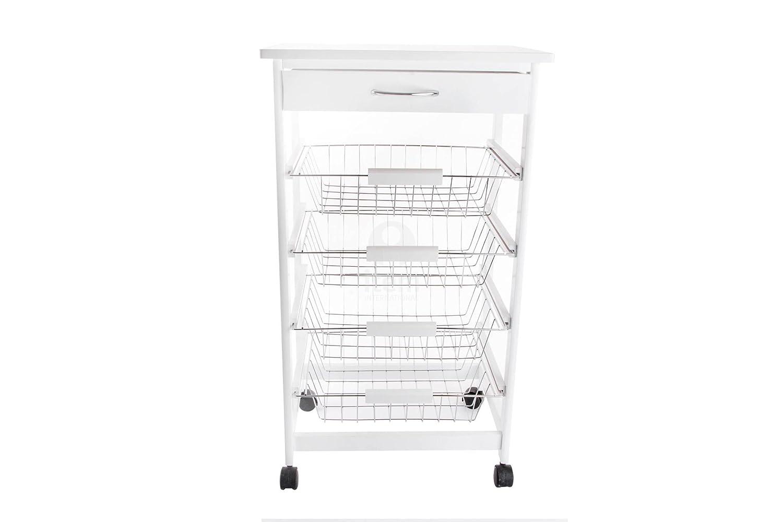 DonRegaloWeb - Carro verdulero de cocina de madera y metal con 4 cestos y 1 cajón con ruedas en color blanco: Amazon.es: Hogar