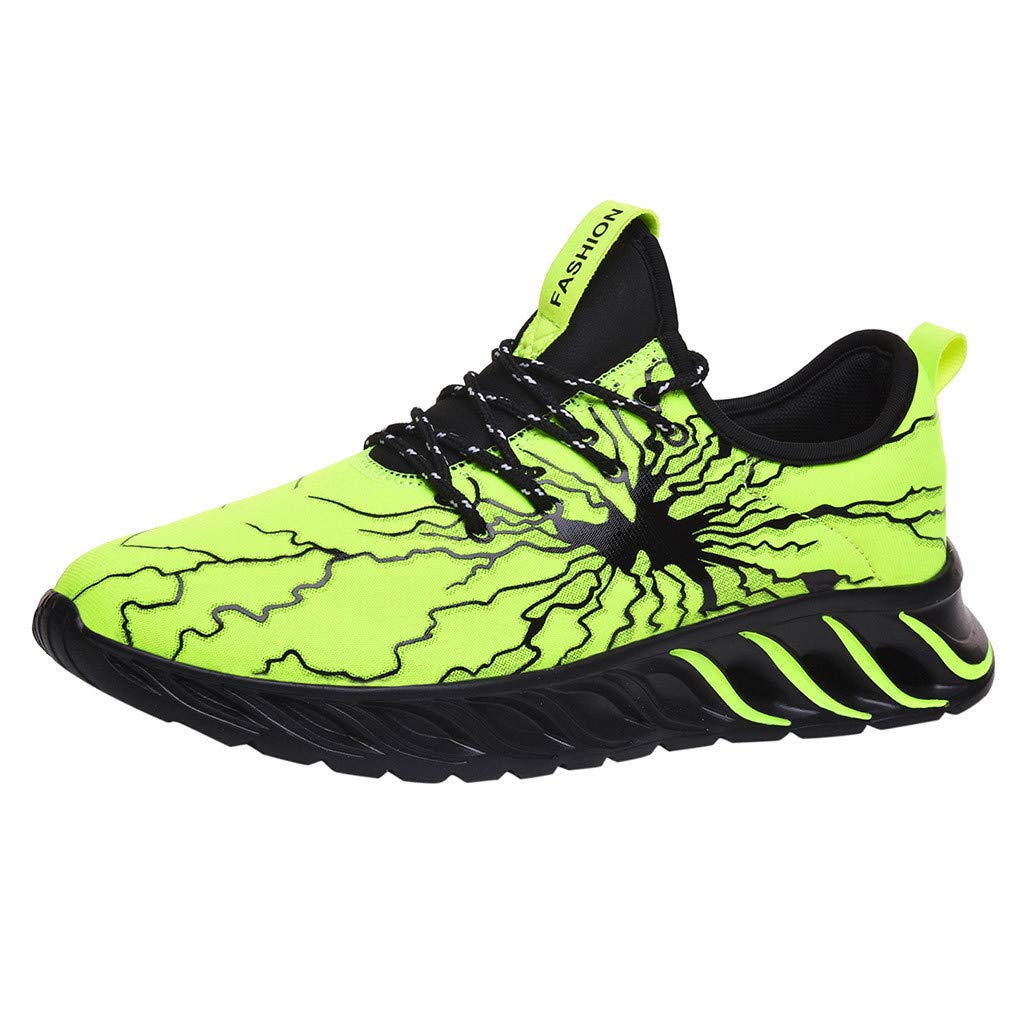 Men's Graffiti Sneakers, Mosunx Professional Mesh Breathable Lightweight Sport Running Shoes, Elasticity Non-Slip Casual Tennis Walking Fitness Shoes (8, Green) by Mosunx
