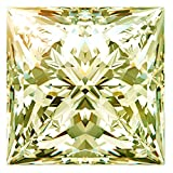 RINGJEWEL 3.84 ct VVS1 Princess Cut Loose Real Moissanite Use 4 Pendant/Ring Fancy Canary Yellow Color