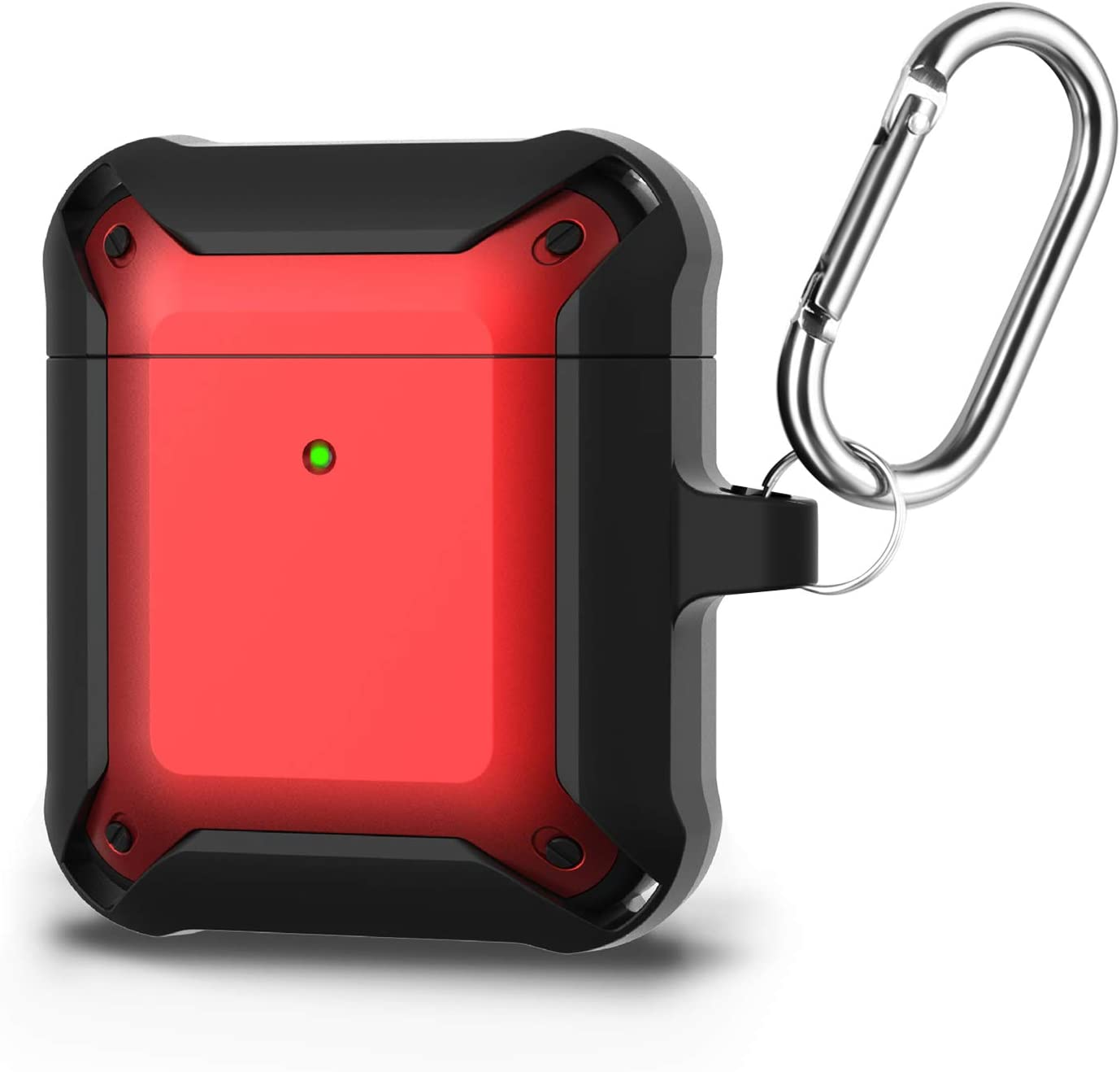 CASEHOME Airpods 1/2 Case Cover, Military Grade Rugged Armor TPU Cover with Keychain, Shock Absorption Full Protective Wireless Charging Case Compatible with Apple AirPods 1/2, Front LED Visible-Red