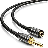 deleyCON PREMIUM 5m HQ Stereo Audio Klinken Verlängerungskabel - 3,5mm Klinken Buchse zu 3,5mm Klinken Stecker - METALL - vergoldet